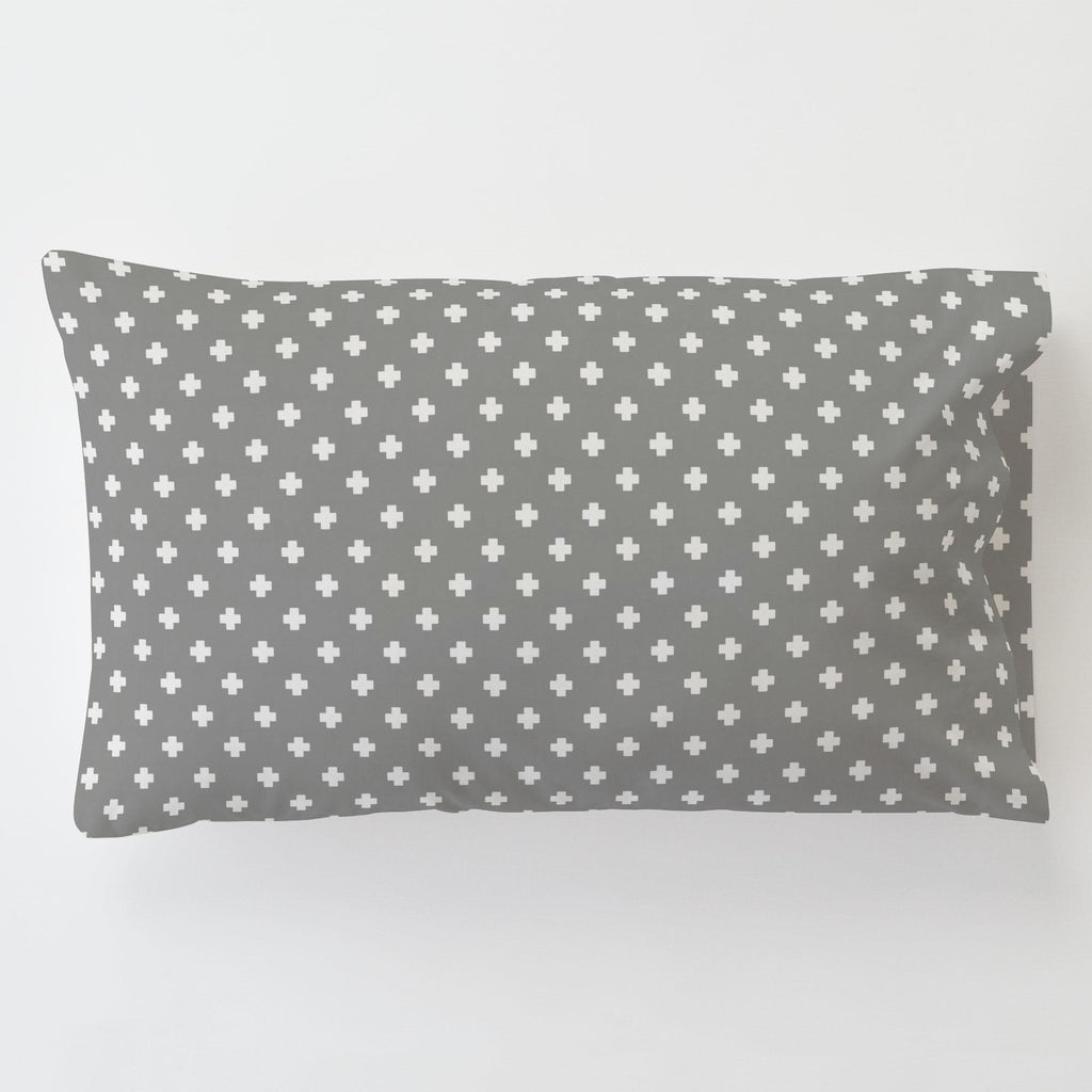 Product image for Gray Mini Swiss Cross Toddler Pillow Case with Pillow Insert