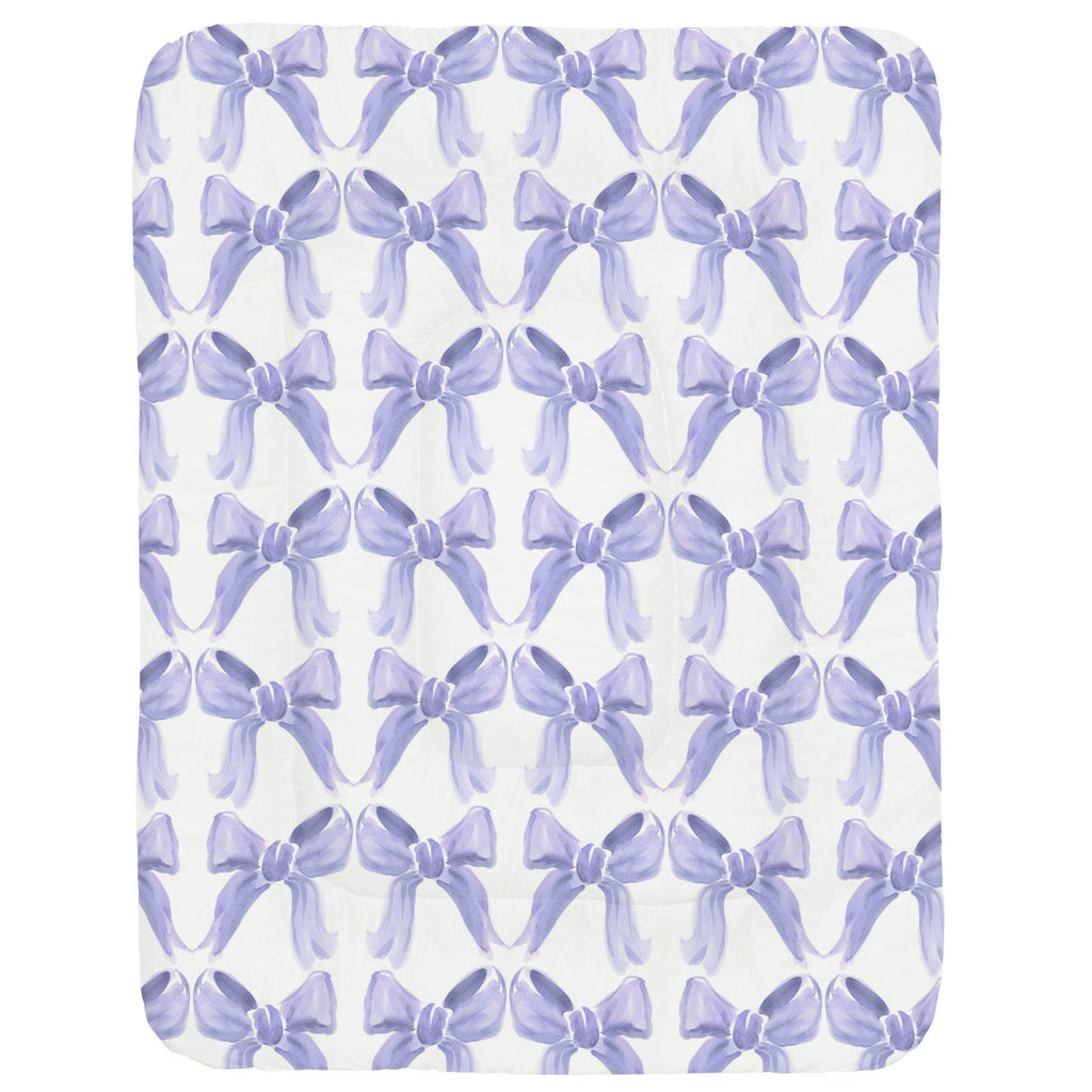 Product image for Lilac Watercolor Bows Crib Comforter