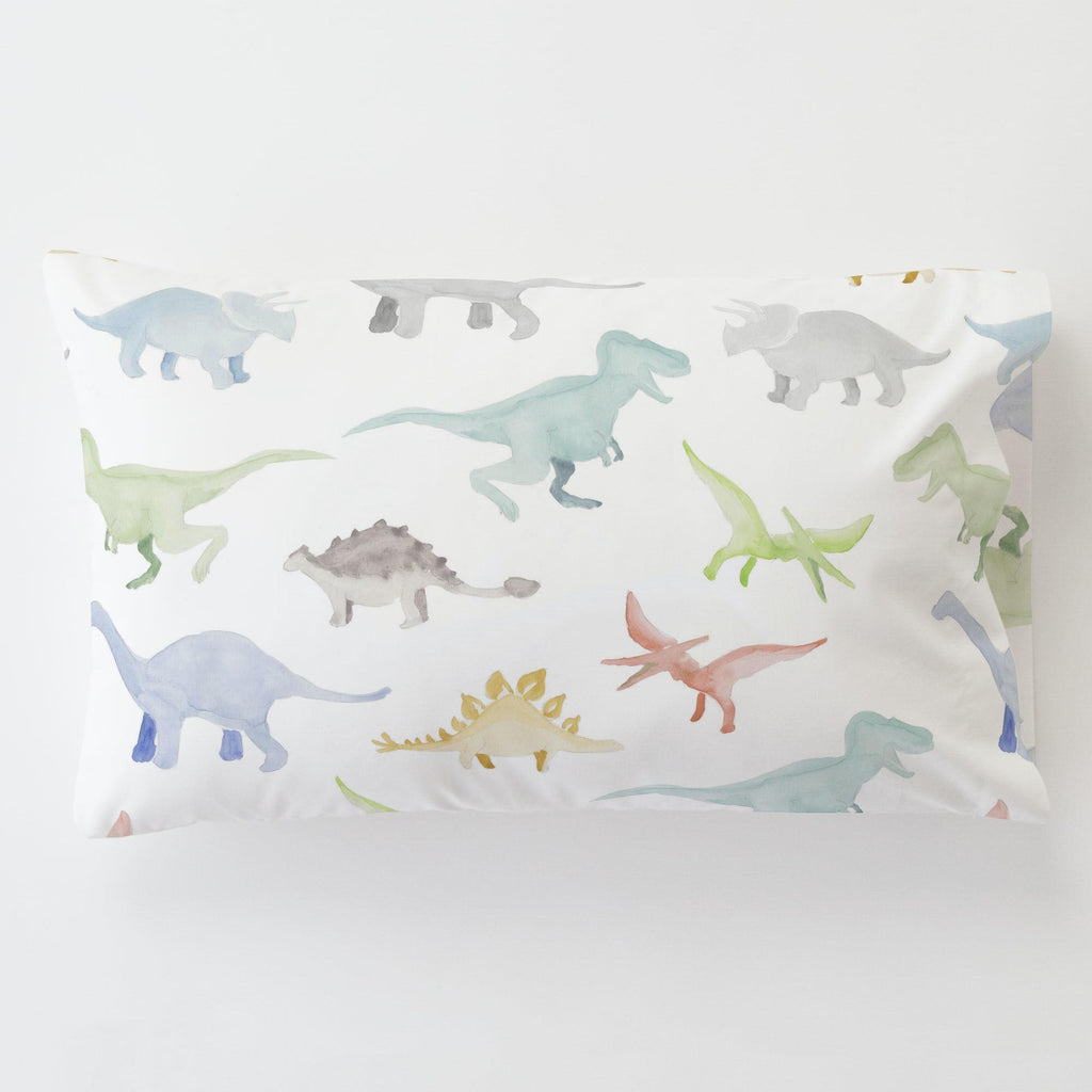 Product image for Watercolor Dinosaurs Toddler Pillow Case with Pillow Insert