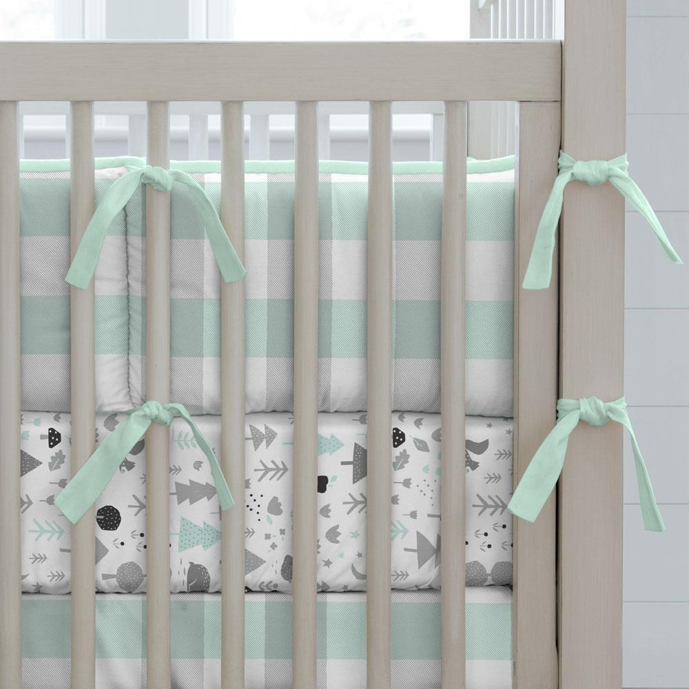 Product image for Mint and Gray Buffalo Check Crib Bumper