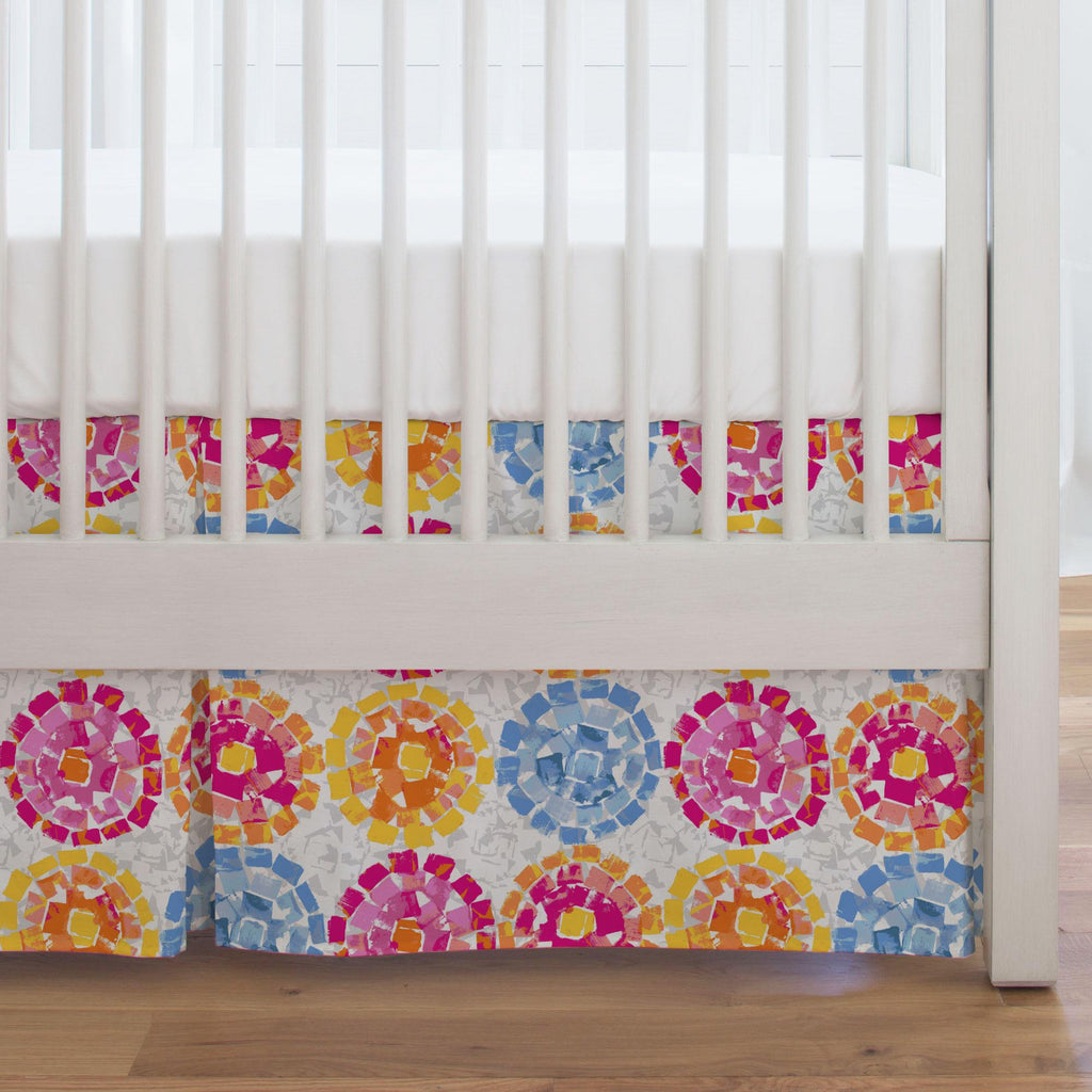 Product image for Pink and Blue Modern Mosaic Crib Skirt Single-Pleat