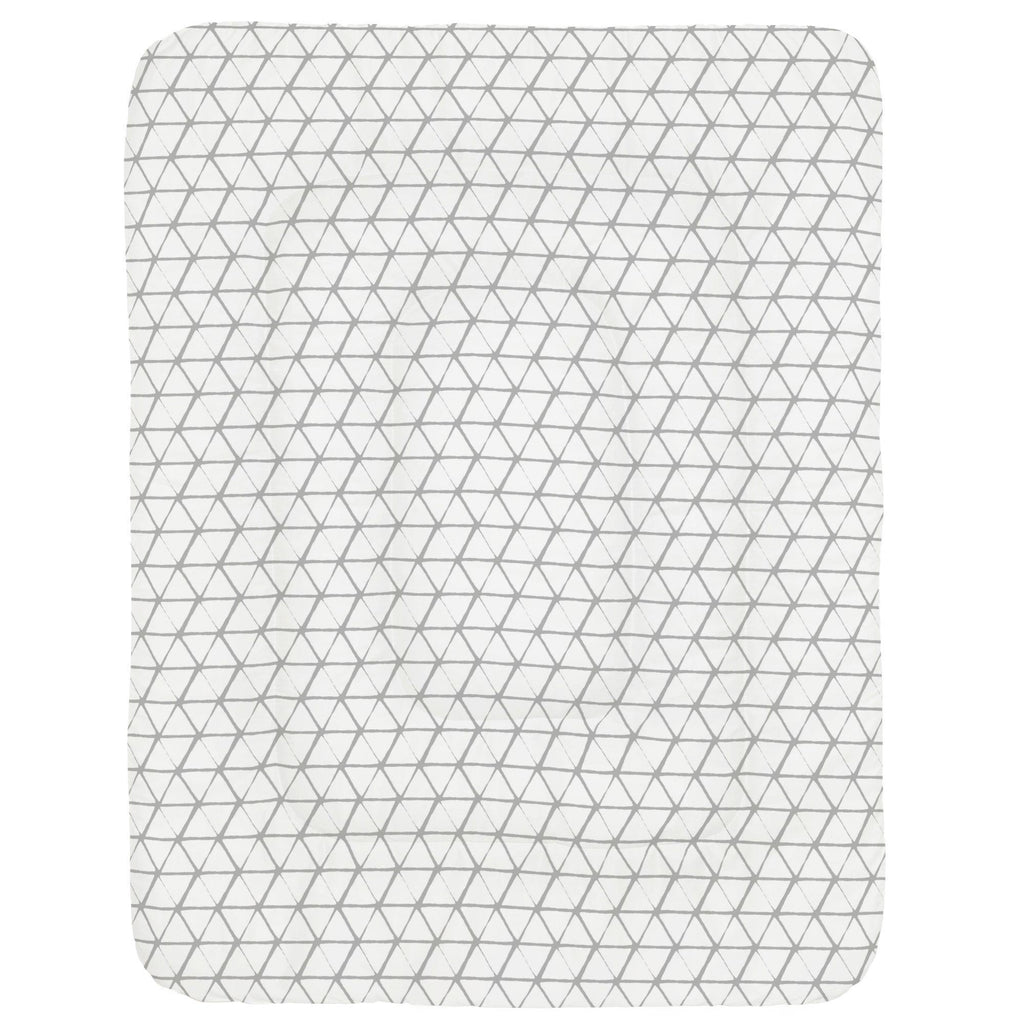 Product image for White and Silver Gray Aztec Triangles Crib Comforter