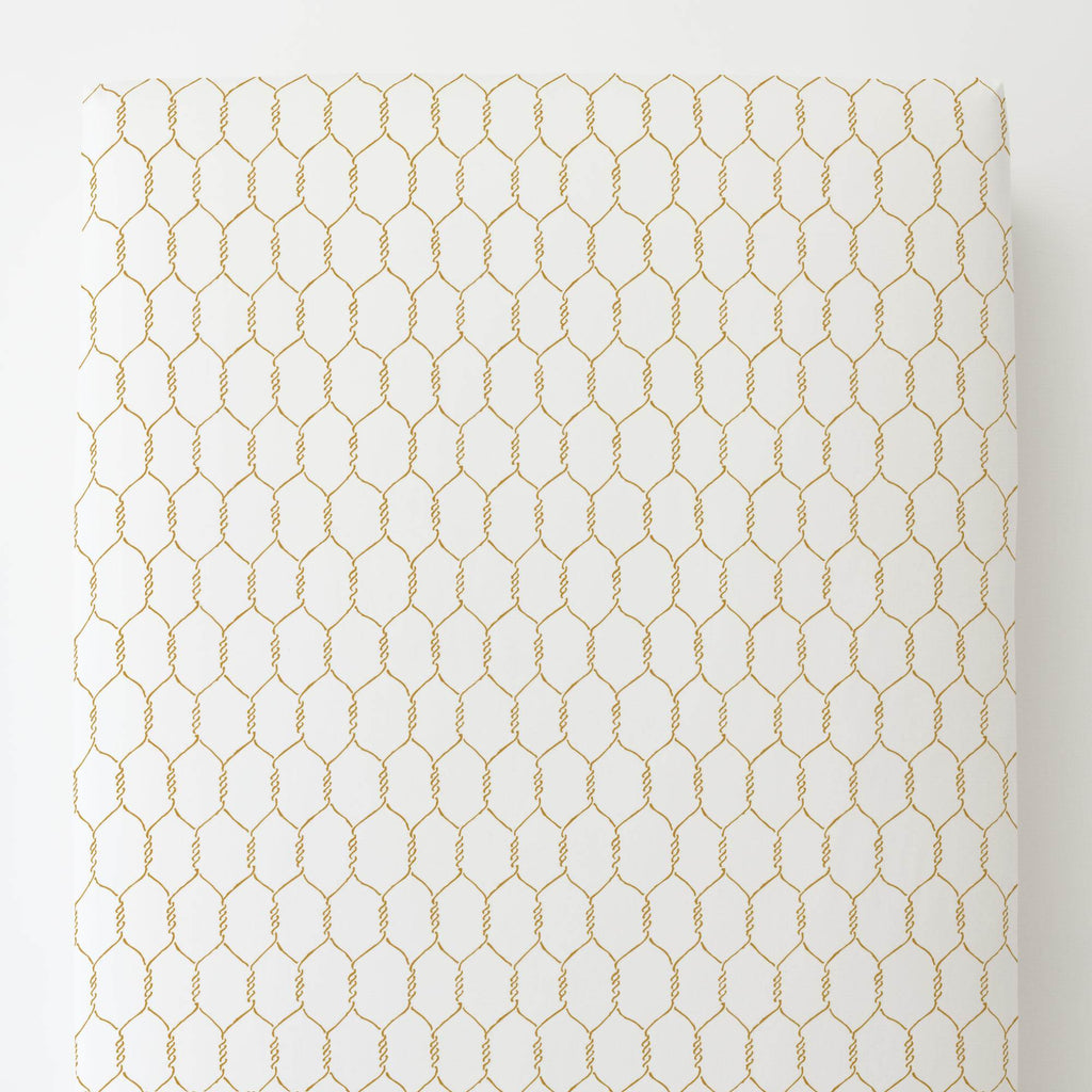 Product image for Mustard Farmhouse Wire Toddler Sheet Bottom Fitted