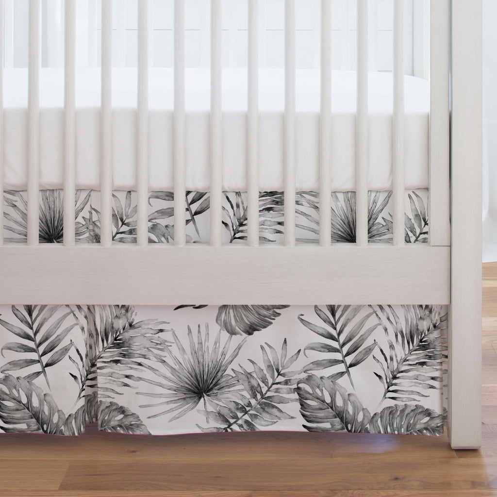 Product image for Gray Painted Tropical Crib Skirt Single-Pleat