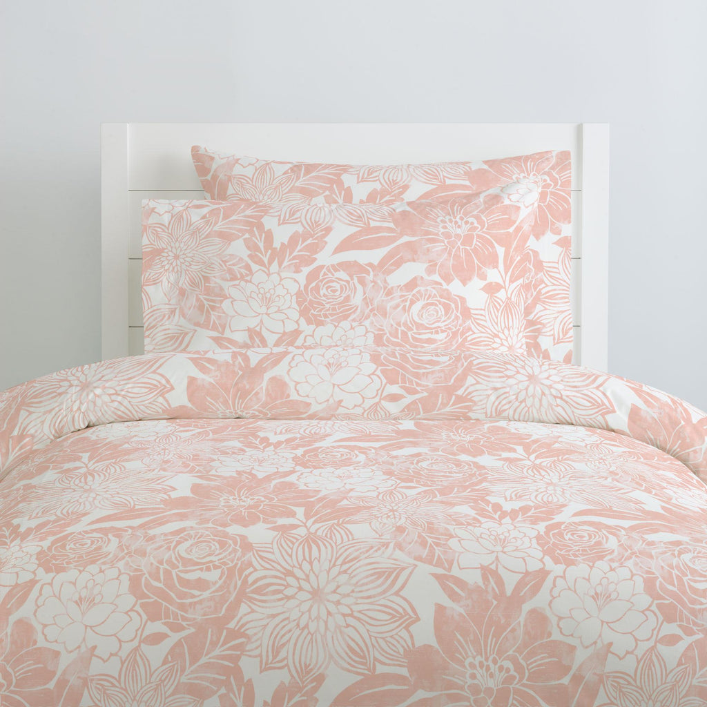 Product image for Peach Modern Blooms Duvet Cover