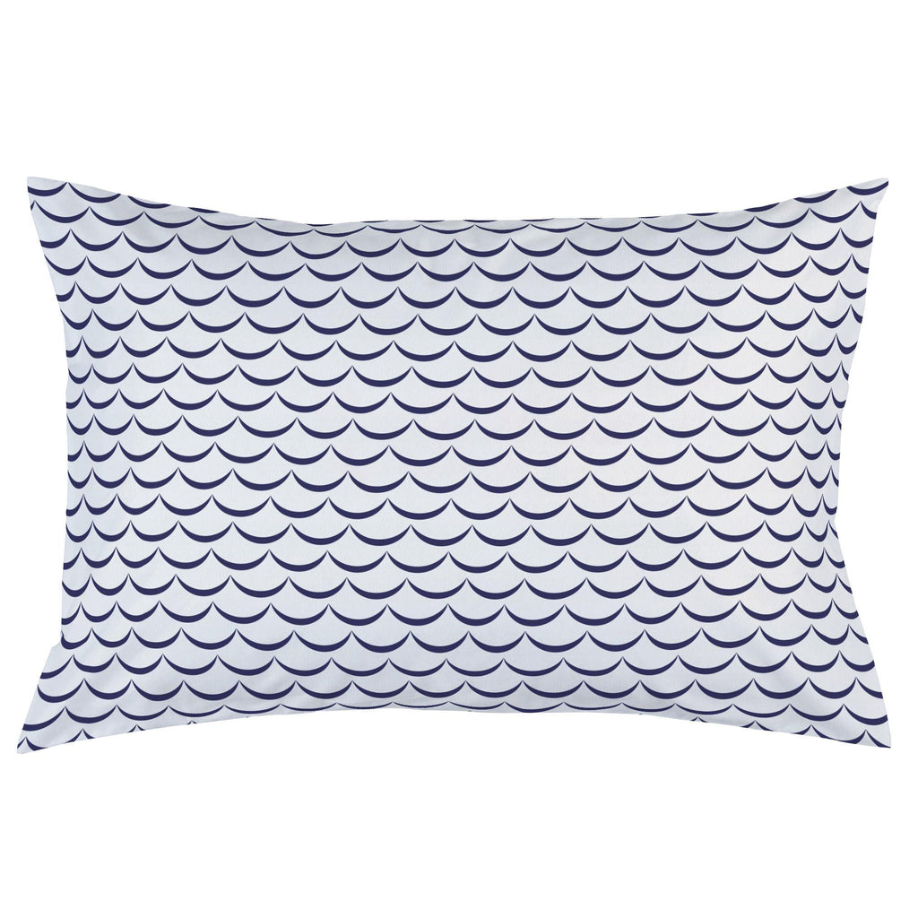 Product image for White and Navy Waves Pillow Case