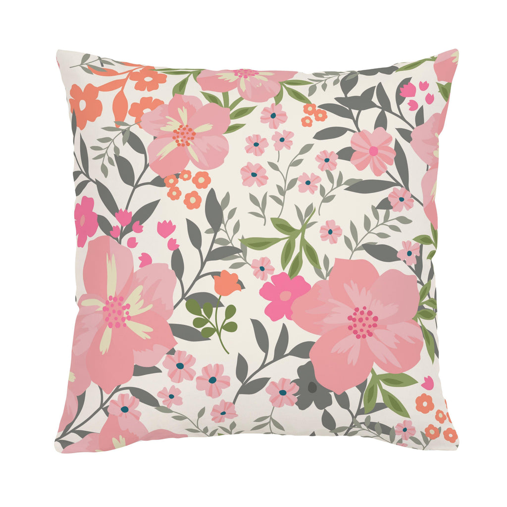 Product image for Pink and Orange Floral Tropic Throw Pillow