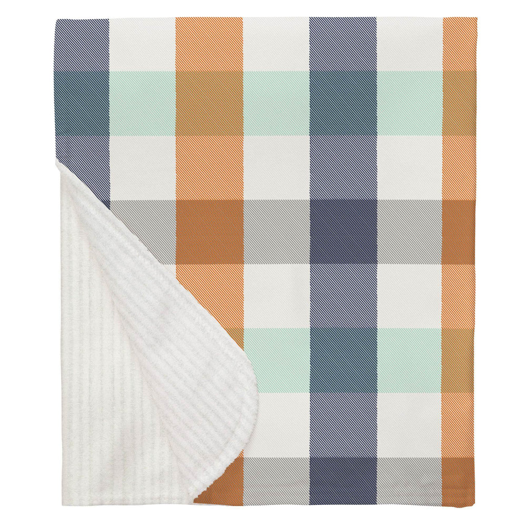 Product image for Navy and Orange Buffalo Check Baby Blanket