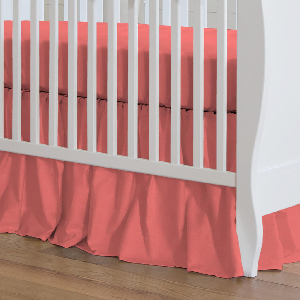 Product image for Solid Coral Crib Skirt Gathered
