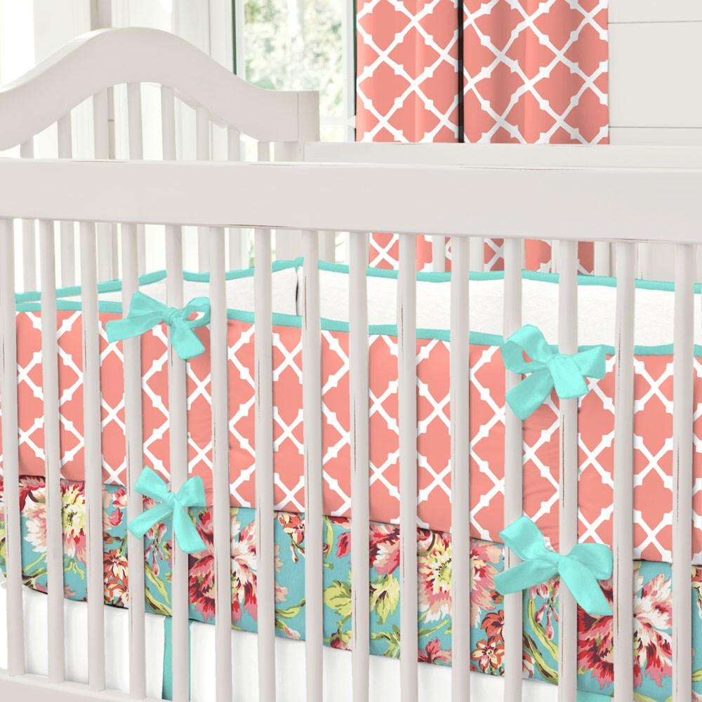 Product image for Light Coral Lattice Crib Bumper