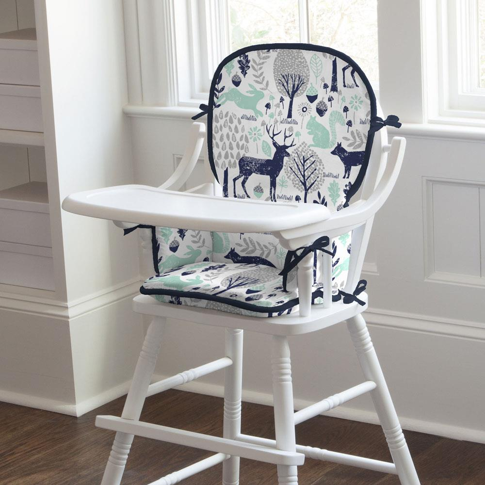 Product image for Navy and Mint Woodland Animals High Chair Pad