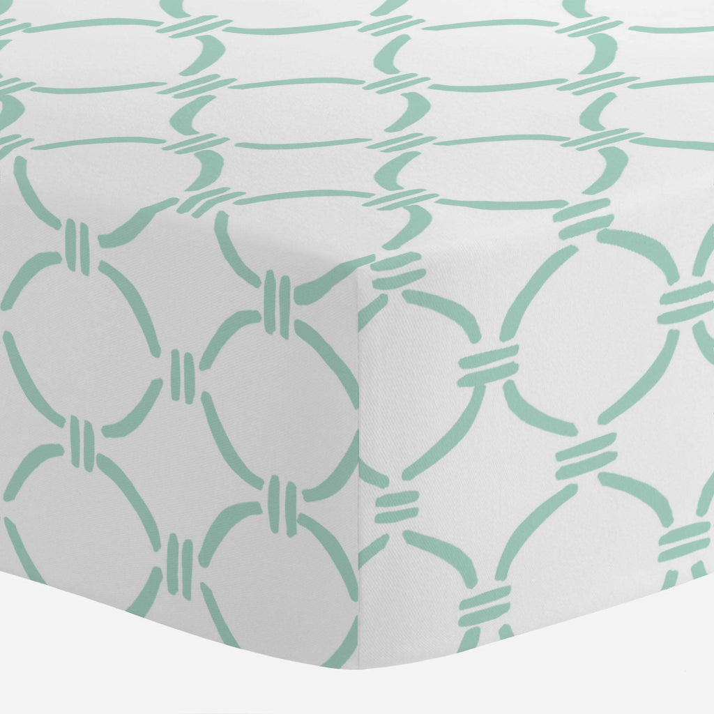 Product image for Mint Lattice Circles Crib Sheet