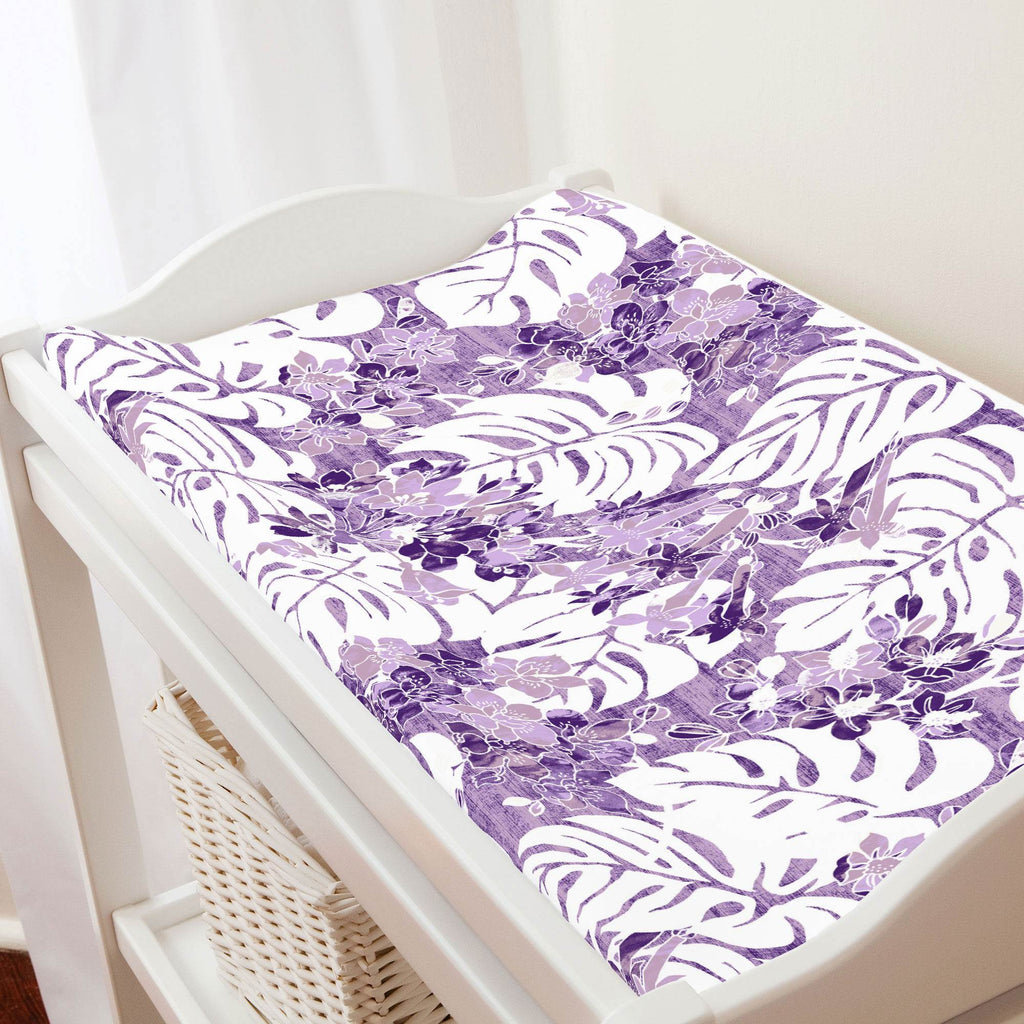 Product image for Purple Tropical Changing Pad Cover