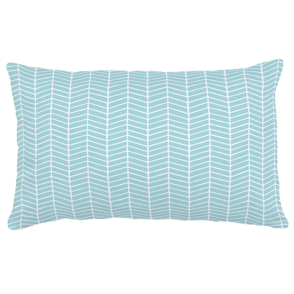 Product image for Seafoam Aqua Herringbone Lumbar Pillow