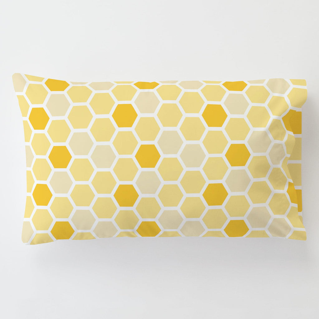 Product image for Yellow Honeycomb Toddler Pillow Case with Pillow Insert
