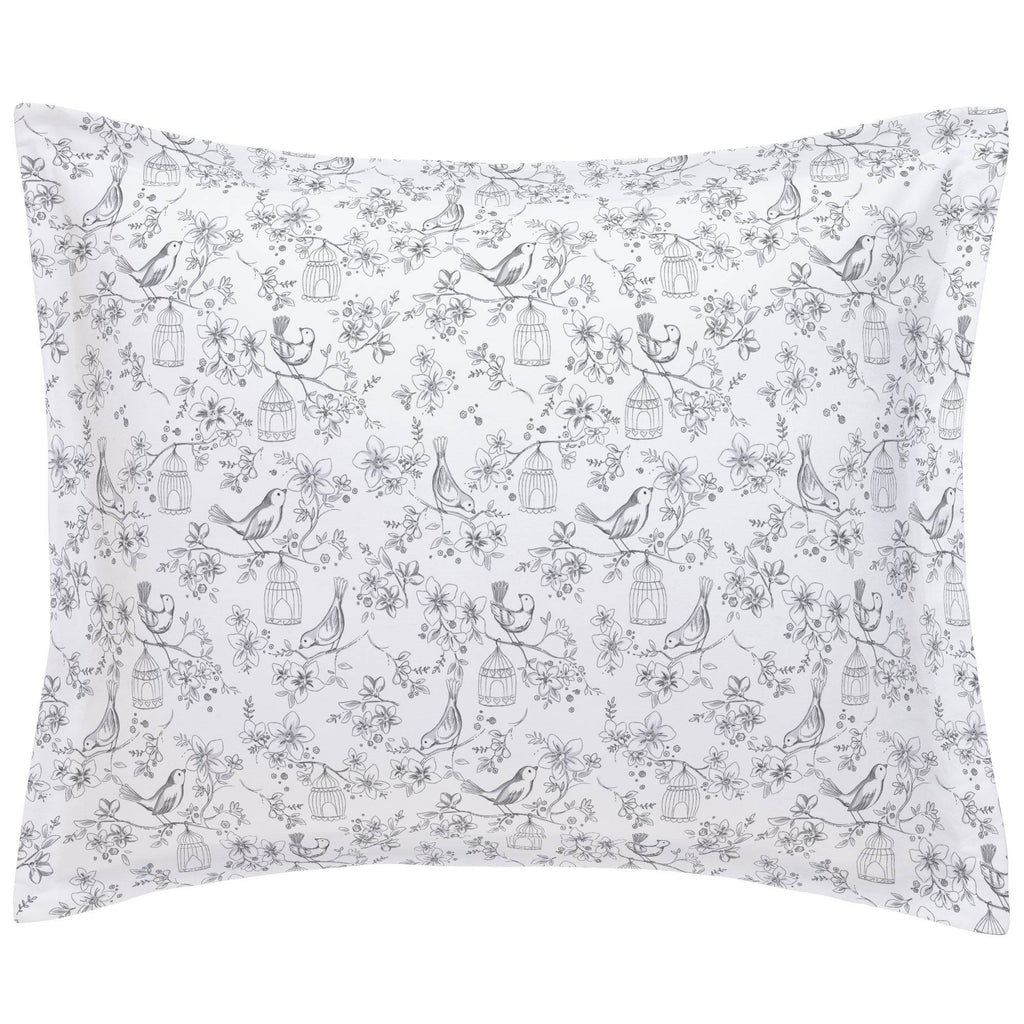 Product image for White and Gray Bird Cage Pillow Sham