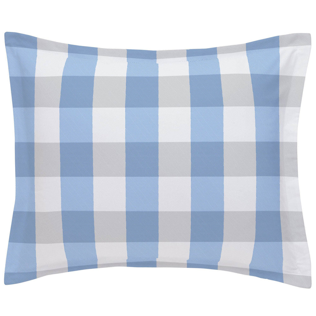 Product image for Blue and Silver Gray Buffalo Check Pillow Sham