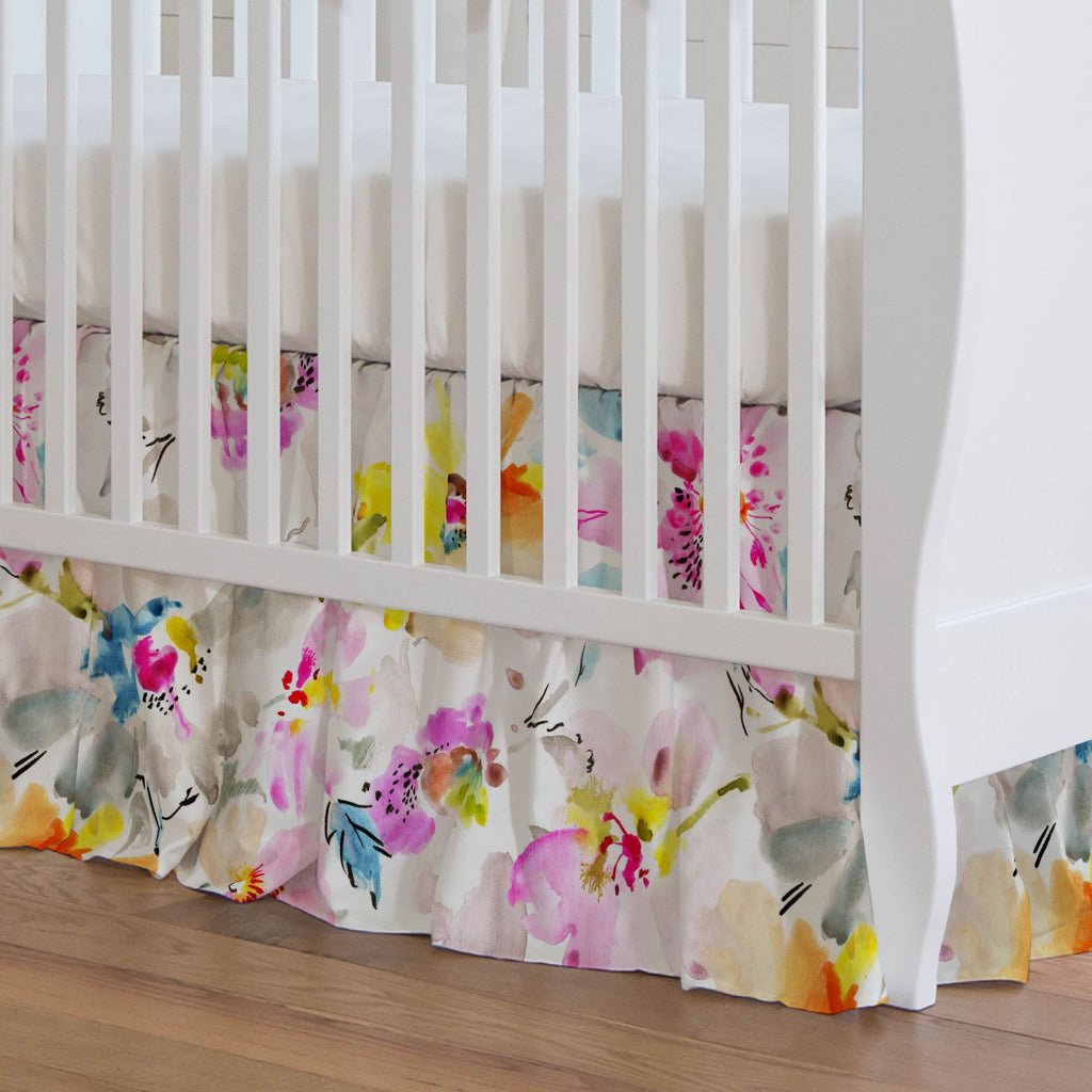 Product image for Watercolor Floral Crib Skirt Gathered