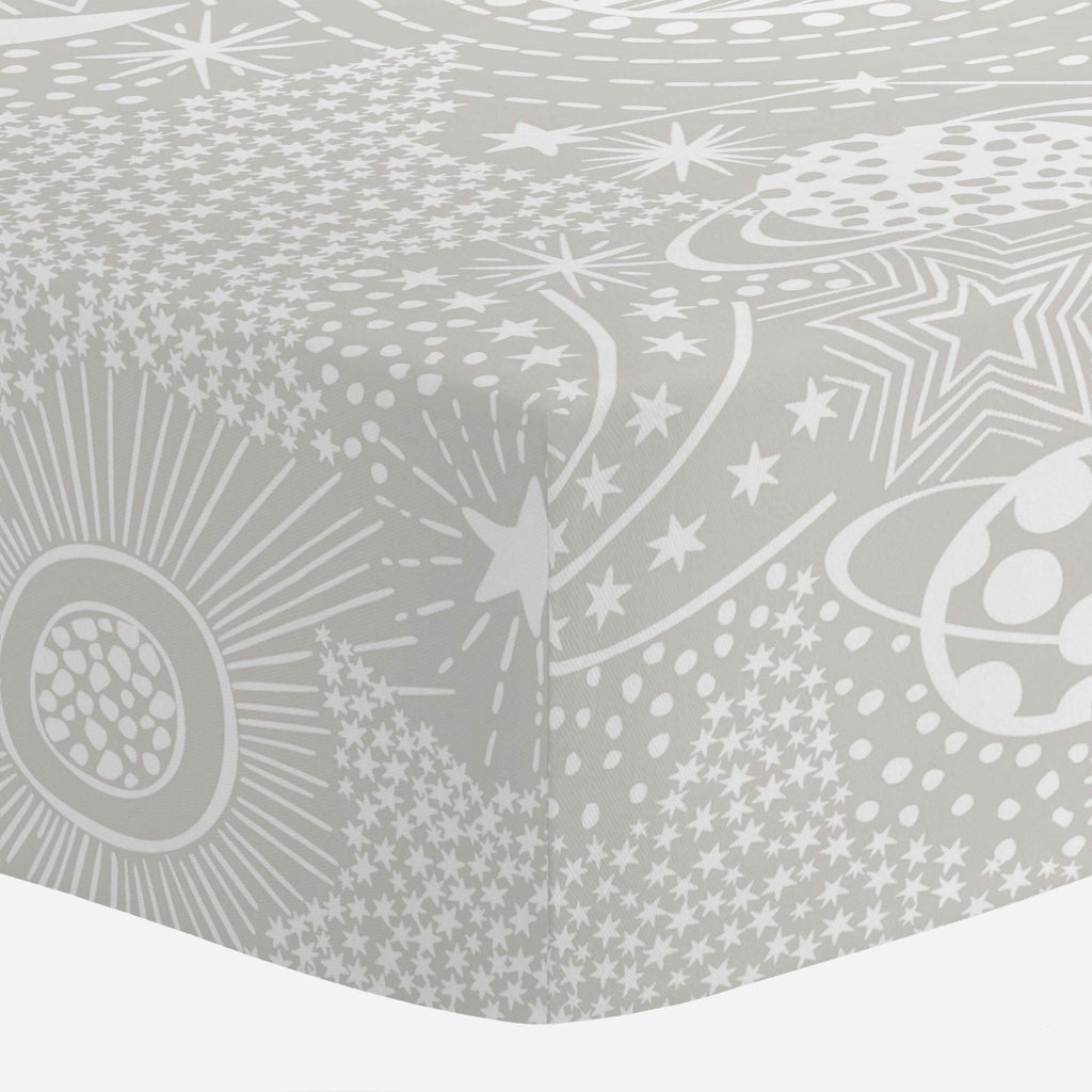 Product image for French Gray and White Galaxy Crib Sheet