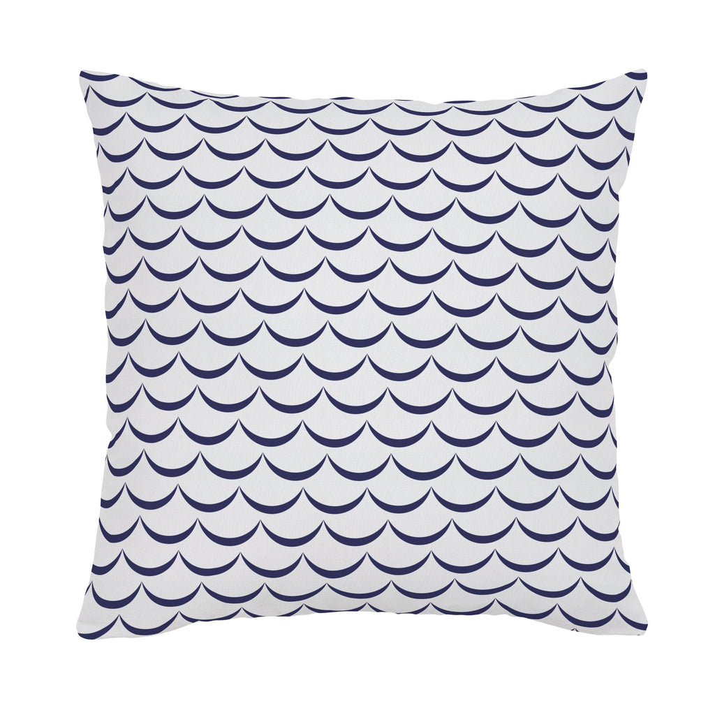 Product image for White and Navy Waves Throw Pillow