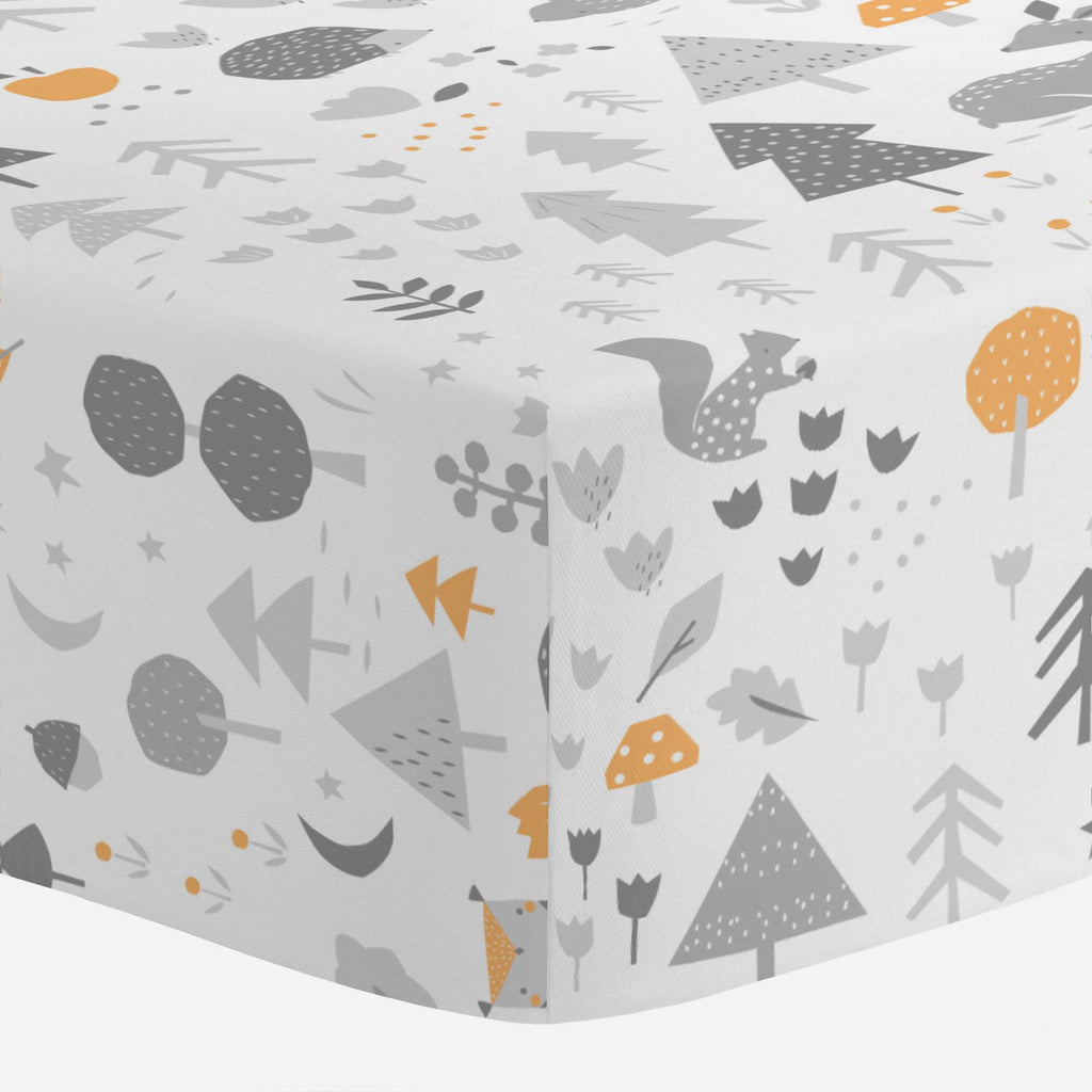 Product image for Light Orange and Silver Gray Baby Woodland Crib Sheet