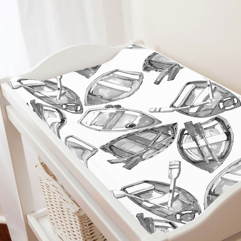 Product image for Gray Watercolor Boats Changing Pad Cover