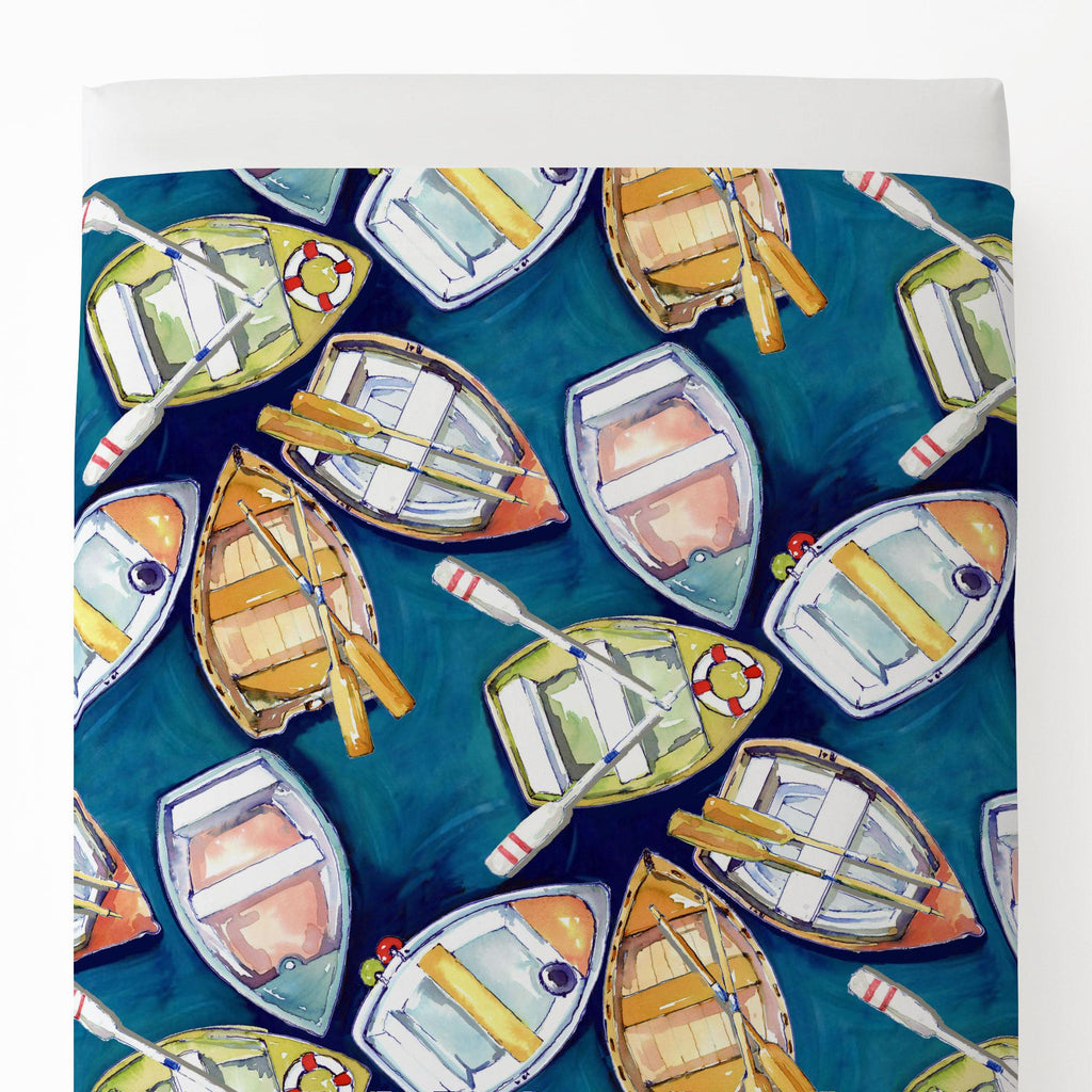 Product image for Blue Watercolor Boats Toddler Sheet Top Flat
