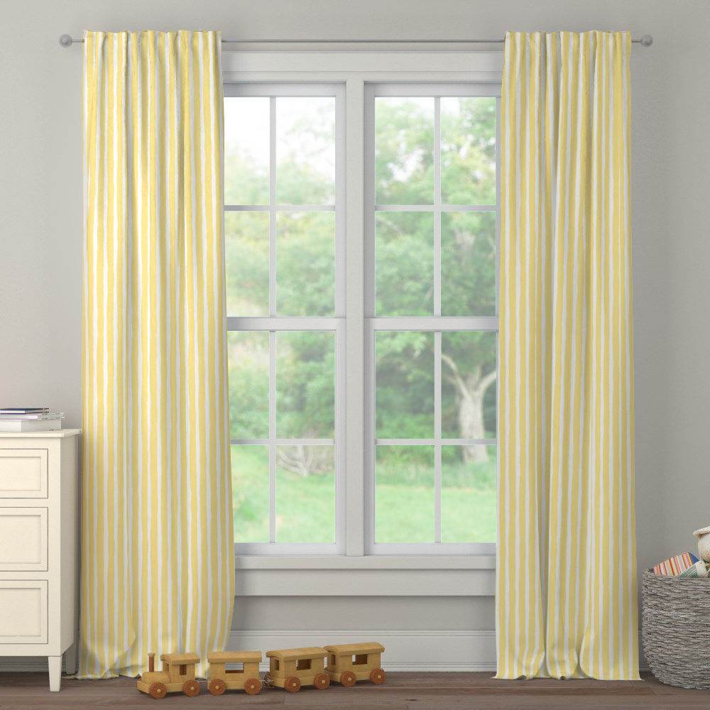 Product image for Banana Yellow Weathered Stripe Drape Panel