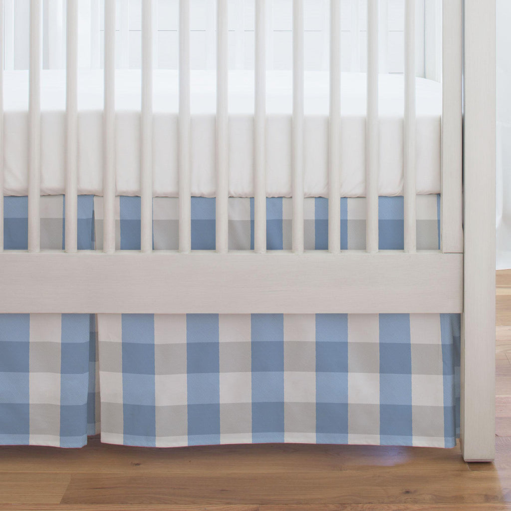 Product image for Blue and Silver Gray Buffalo Check Crib Skirt Single-Pleat
