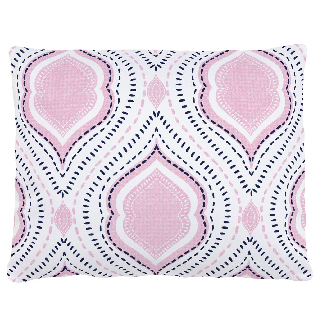 Product image for Pink and Navy Moroccan Damask Accent Pillow