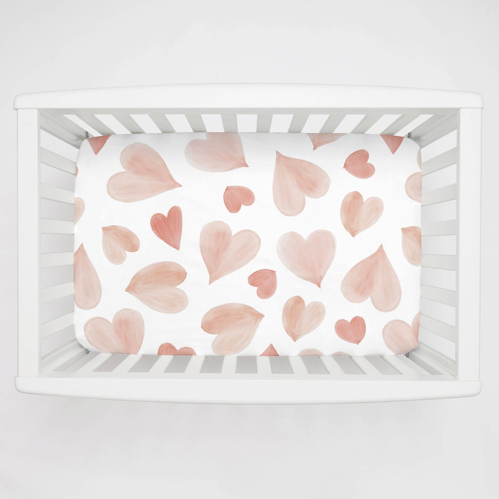 Product image for Peach Watercolor Hearts Mini Crib Sheet