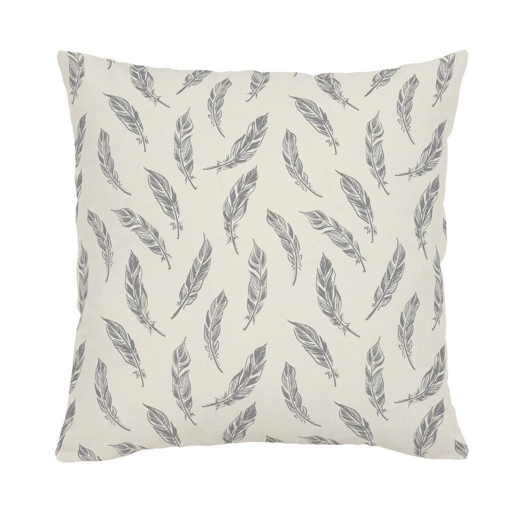 Product image for Natural Gray Feathers Throw Pillow