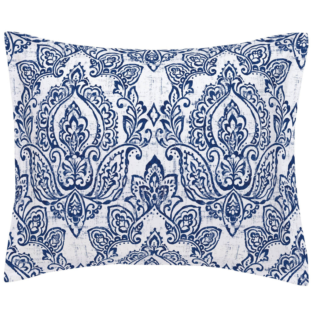 Product image for White and Navy Vintage Damask Pillow Sham