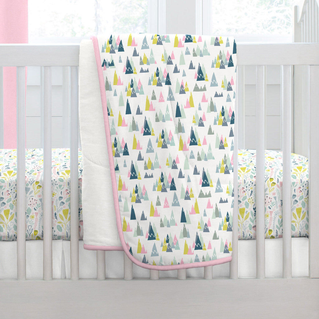 Product image for Pink Mountains Crib Comforter with Piping