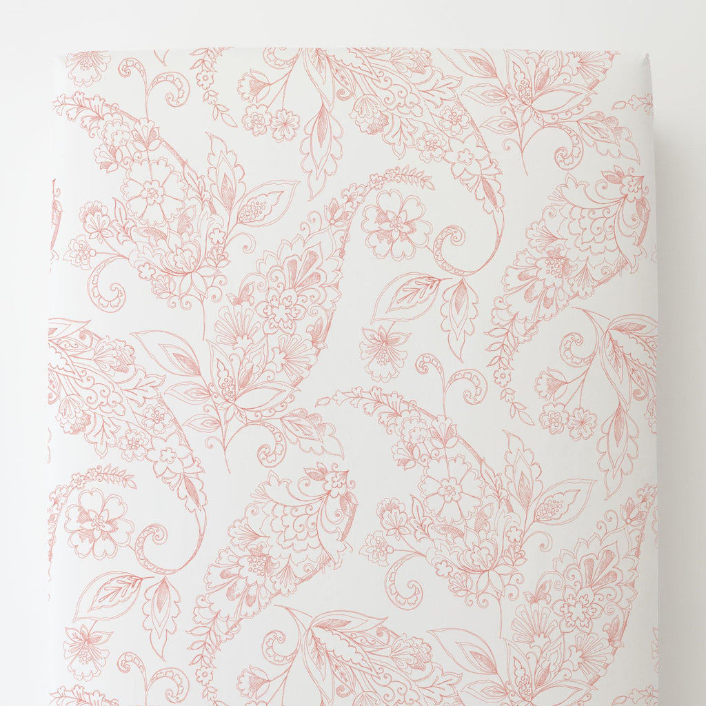 Product image for Light Coral Sketchbook Floral Toddler Sheet Bottom Fitted