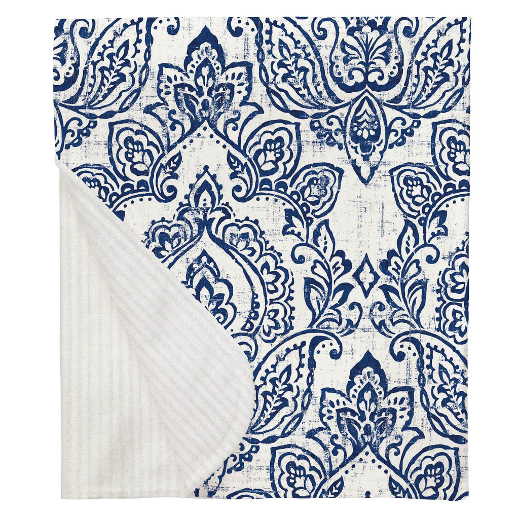Product image for White and Navy Vintage Damask Baby Blanket