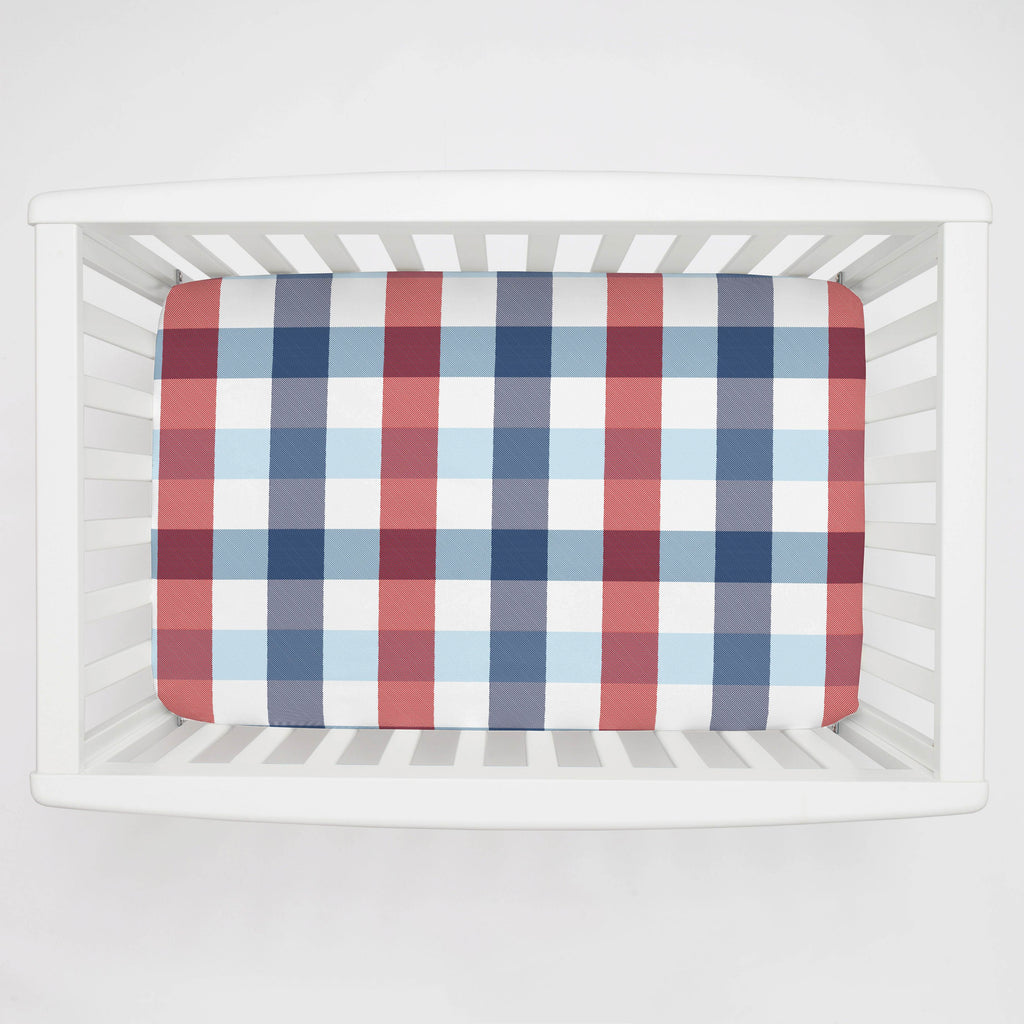 Product image for Navy and Red Buffalo Check Mini Crib Sheet