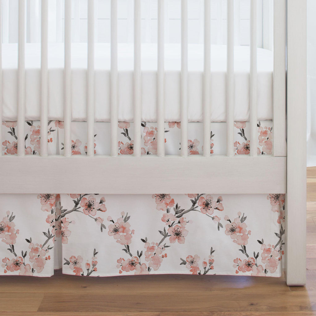 Product image for Light Coral Cherry Blossom Crib Skirt Single-Pleat