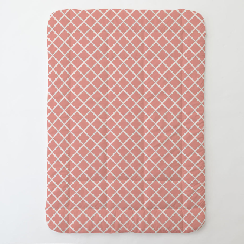 Product image for Light Coral Lattice Toddler Comforter