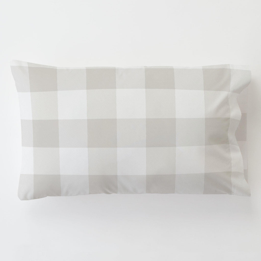 Product image for French Gray and White Buffalo Check Toddler Pillow Case with Pillow Insert