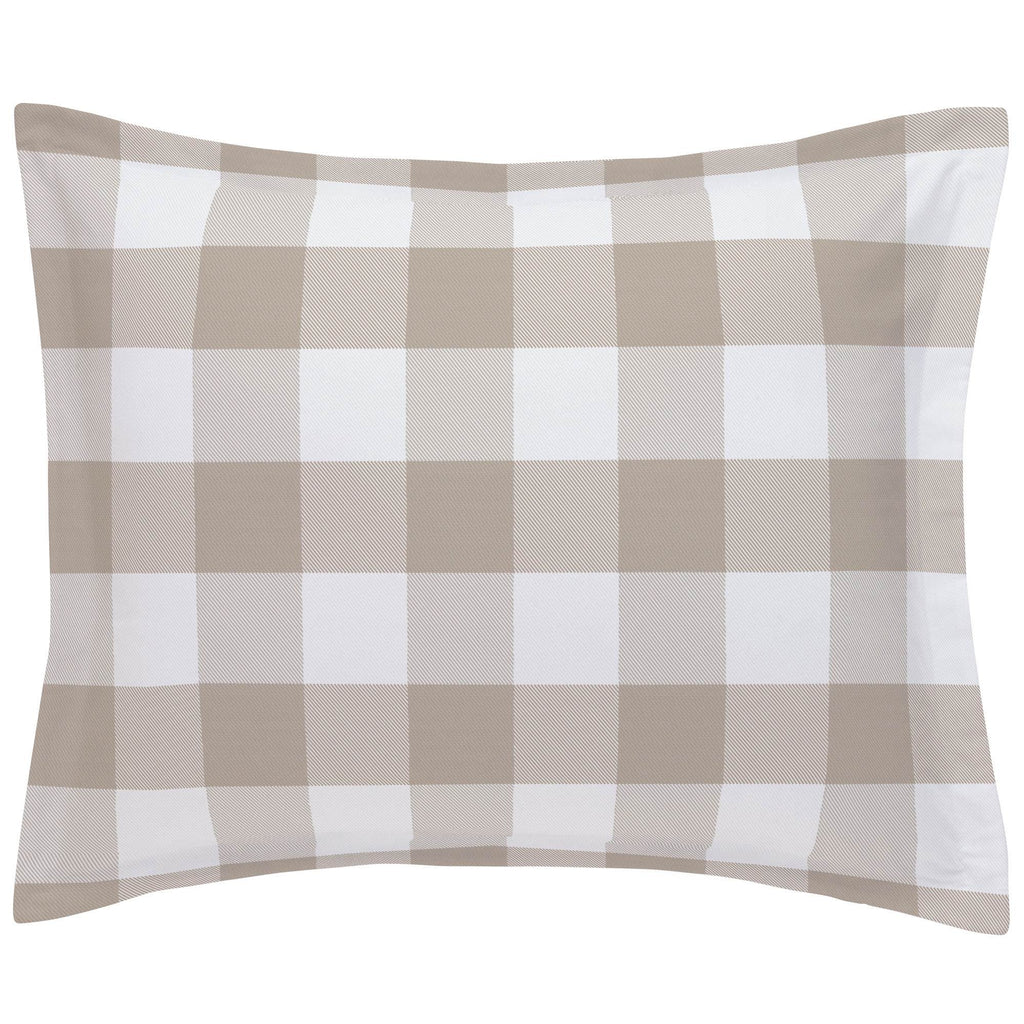 Product image for Taupe and White Buffalo Check Pillow Sham