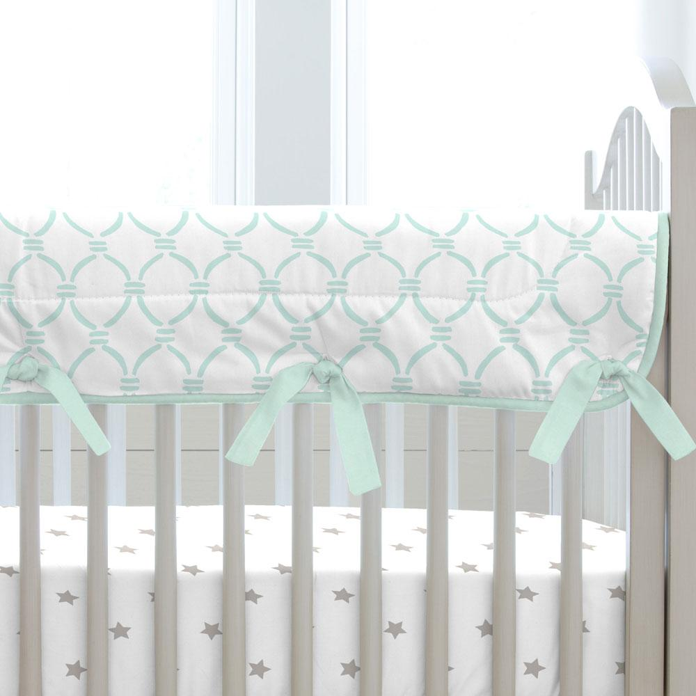 Product image for Mint Lattice Circles Crib Rail Cover