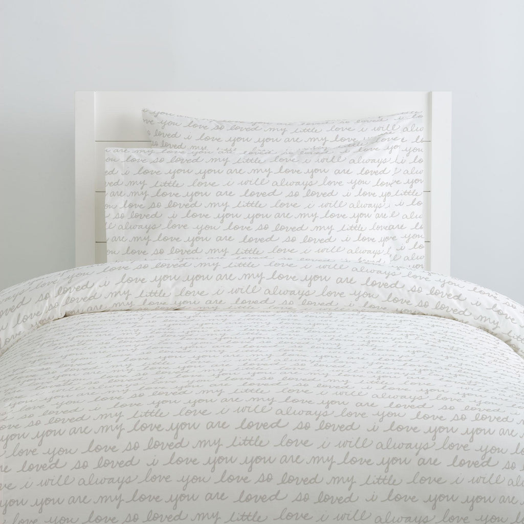 Product image for French Gray Love Words Duvet Cover