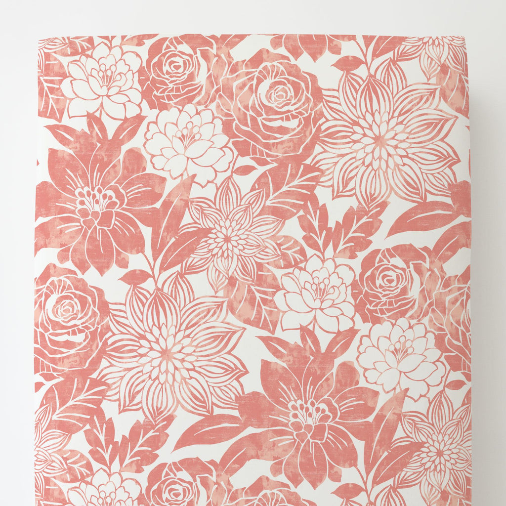 Product image for Light Coral Modern Blooms Toddler Sheet Bottom Fitted