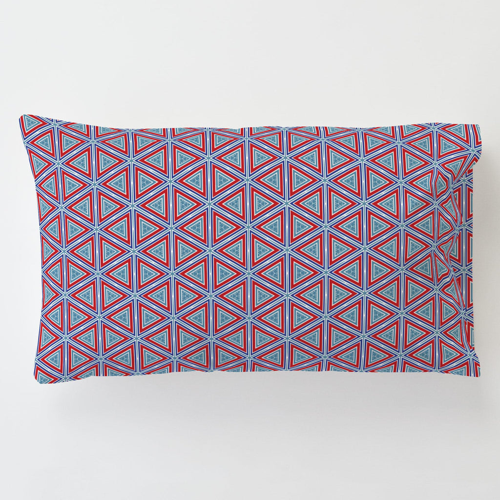 Product image for Red Nautical Triangles Toddler Pillow Case with Pillow Insert