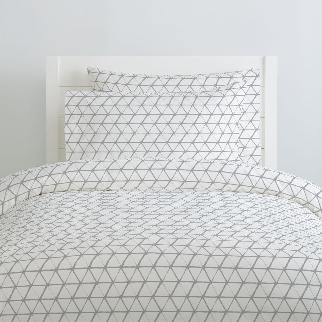 Product image for White and Silver Gray Aztec Triangles Duvet Cover