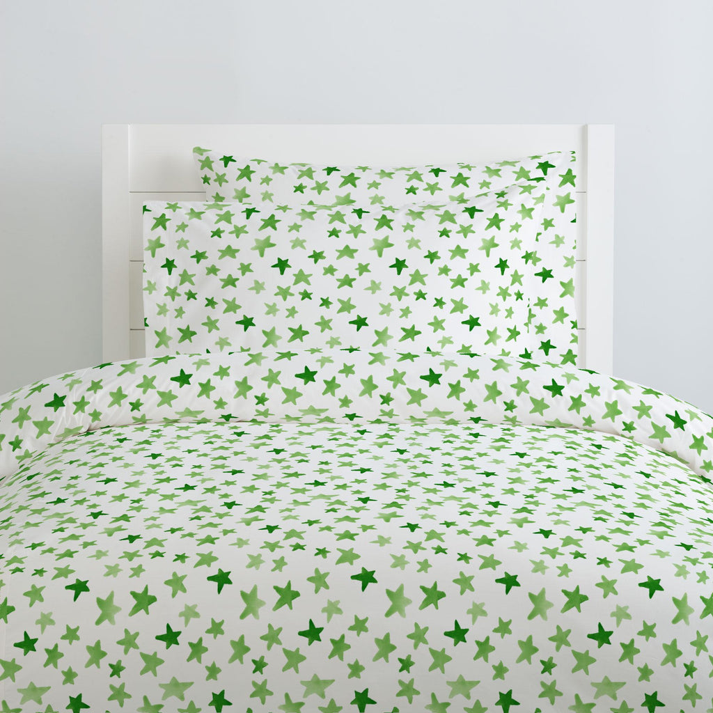 Product image for Green Watercolor Stars Duvet Cover