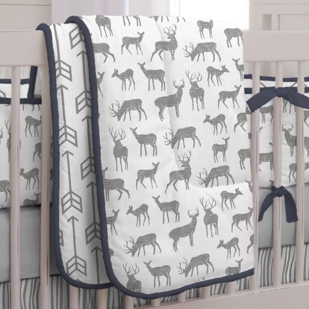 Product image for Cloud Gray Deer Crib Comforter with Piping