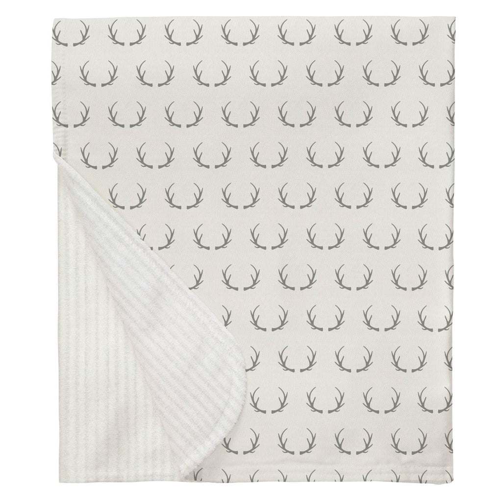 Product image for Silver Gray Antlers Baby Blanket