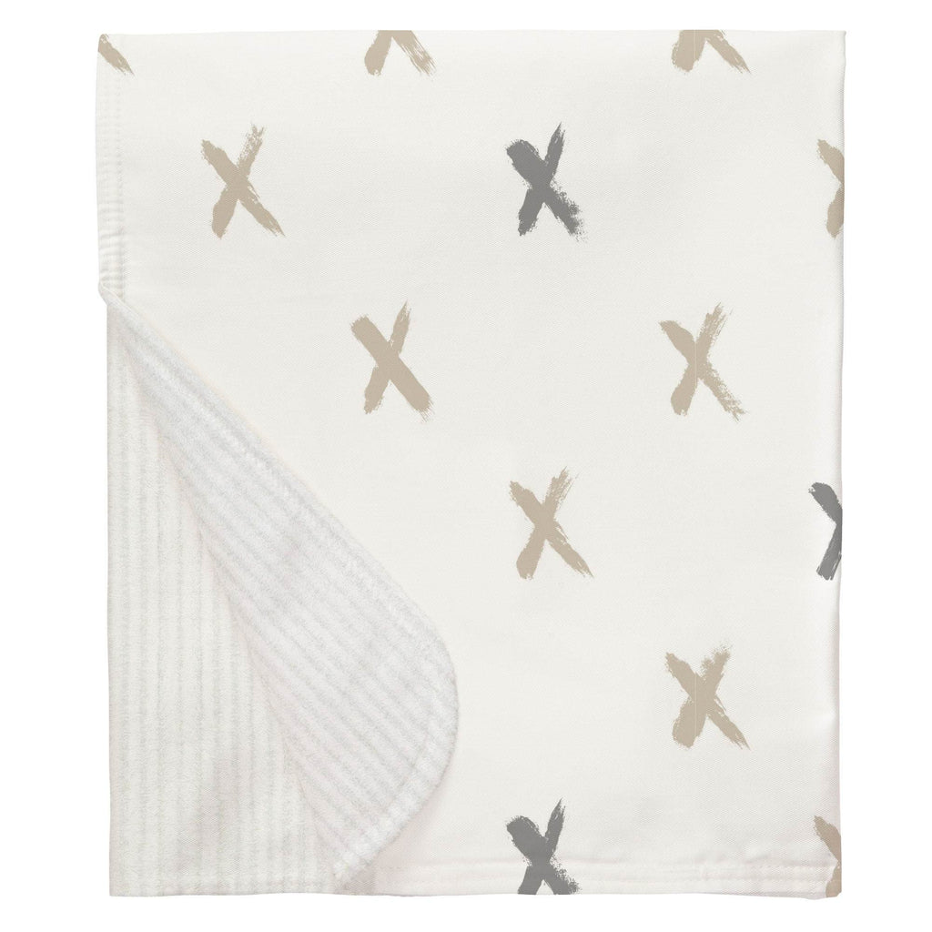 Product image for Taupe and Cloud Gray Brush X Baby Blanket
